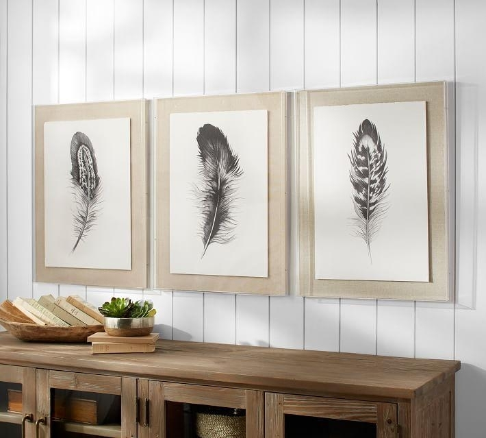 Feather 3 Piece Framed Wall Art With Framed Wall Art (View 6 of 10)