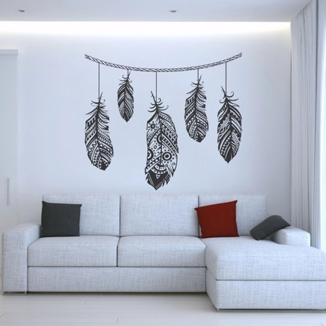 Feather Wall Decal Stickers Tribal Wall Art Boho Bohemian Decor Intended For Feather Wall Art (Image 10 of 25)