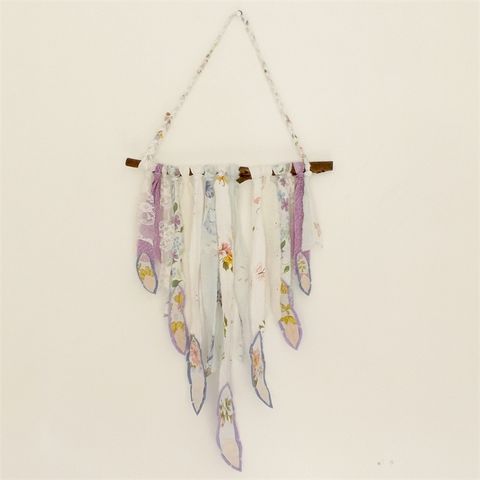 Feather Wall Hanging – Bohemian Wall Art – Recycled Fabric Wall For Feather Wall Art (Image 11 of 25)