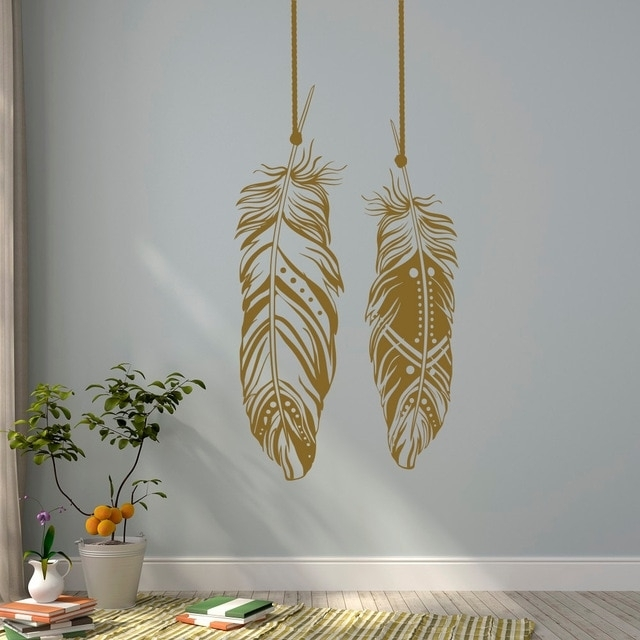 Feathers Wall Decals Tribal Wall Art Boho Bohemian Wall Decor Living Within Bohemian Wall Art (Image 15 of 25)