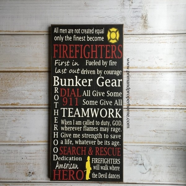 Firefighter – Hand Painted Typography Wall Art – Prim & Proper For Firefighter Wall Art (View 9 of 10)