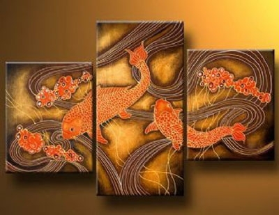 Fish Mating Time-Modern Canvas Oil Painting Wall Art With Stretched in Fish Painting Wall Art