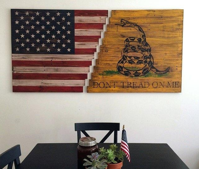 Flag Wall Art Vintage Wooden American Flag Wall Art – 7Thhouse Throughout Rustic American Flag Wall Art (View 11 of 25)