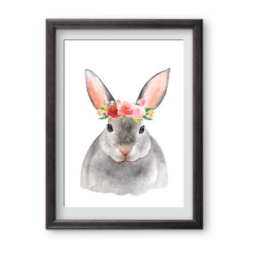 Floral Bunny Watercolour Wall Art Print | Creatively Belle For Bunny Wall Art (Image 12 of 20)