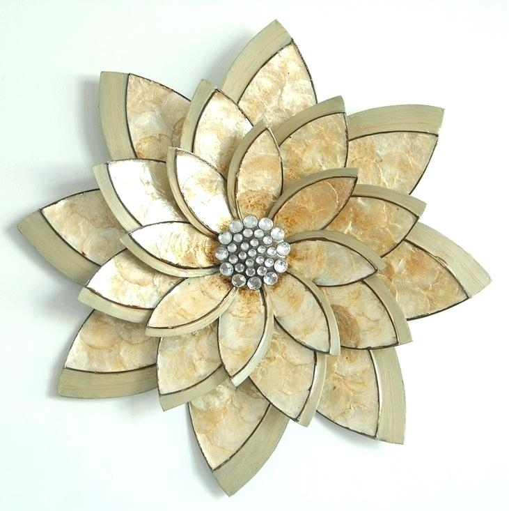 Floral Wall Art Decor Galvanized Flowers Wall Decor Popular Metal With Metal Flower Wall Art (Image 2 of 10)