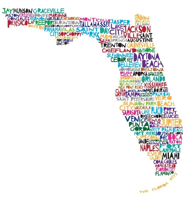 Florida City Map Outline Florida Wall Art Arsmart 736 X 799 Pixels Pertaining To Florida Wall Art (View 5 of 20)