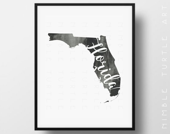 Florida State Outline Watercolor Printable Florida Wall Art | Etsy Pertaining To Florida Wall Art (Image 8 of 20)