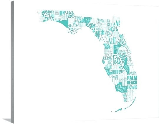 Florida Wall Art Lovely Design Ideas Wall Art Typography Map Canvas Intended For Florida Wall Art (Image 15 of 20)
