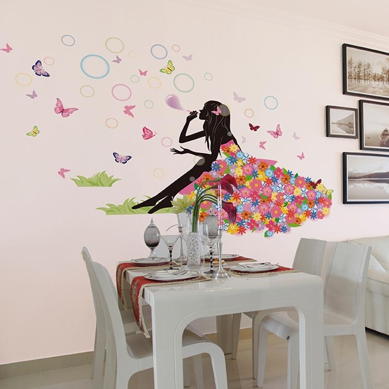 Flower Fairy On Grassland Wall Decal Sticker Colorful Dress Girl Regarding Wall Art Decals (View 6 of 10)