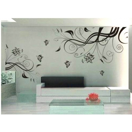 Flower Vine Art Mural Vinyl Wall Art Pertaining To Vinyl Wall Art (View 10 of 10)