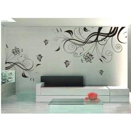 Flower Vine Art Mural Vinyl Wall Art Pertaining To Vinyl Wall Art (Image 3 of 10)