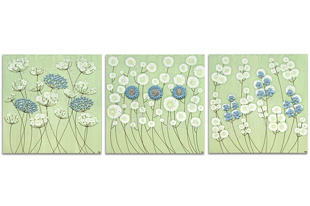 Flower Wall Art On 3 Canvases In Green And Blue – Extra Large | Amborela For Green Wall Art (Image 7 of 25)