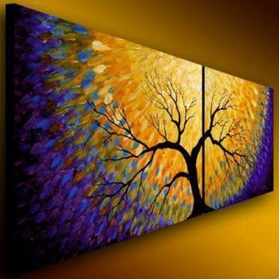 Flowering Modern Canvas Abstract Oil Painting Wall Art With With Regard To Modern Abstract Painting Wall Art (Image 11 of 25)