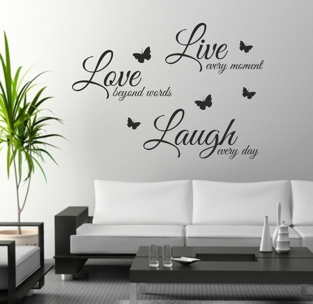 Foodymine Live Laugh Love Wall Art Sticker Quote Wall Decor Wall With Regard To Quote Wall Art (View 6 of 25)