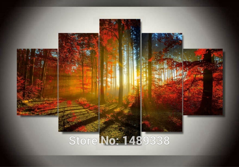 Forest And Sunset Sunlight Autumn Red Woods 5 Panel Canvas Print Pertaining To 5 Panel Wall Art (Image 17 of 25)