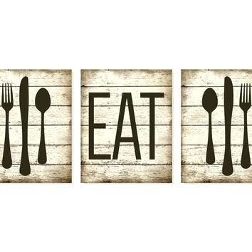 Fork Spoon Wall Decor Kitchen Art Print Eat Rustic Wood Look Fork Pertaining To Fork And Spoon Wall Art (Image 12 of 25)