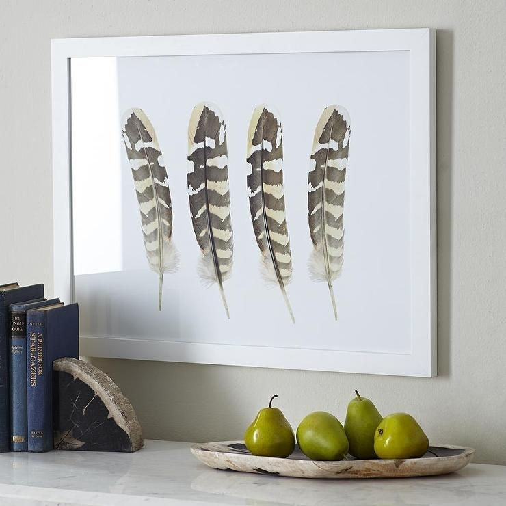 Four Feathers Wall Art In Natural Regarding Feather Wall Art (View 4 of 25)