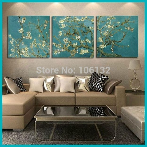Framed 3 Panel Canvas Art Van Gogh Painting Reproductions Flowers With Framed Wall Art For Living Room (Image 5 of 25)