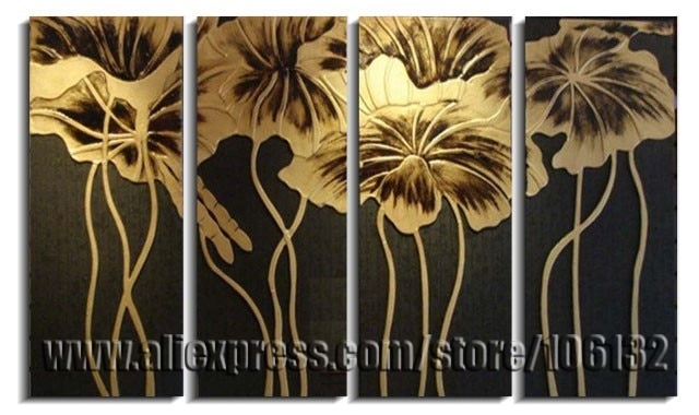 Framed 4 Panel Large Gold Lotus Flower Painting Chinese Wall Art Throughout Chinese Wall Art (View 18 of 25)