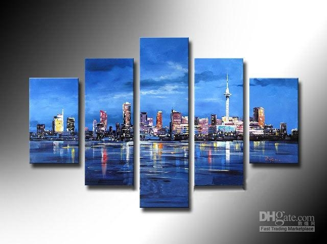 Framed 5 Panel Large New York City 5 Panel Canvas Wall Art Blue Inside 5 Panel Wall Art (View 6 of 25)