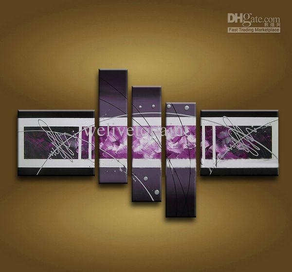 Framed 5 Panel Large Purple Wall Art Abstract Oil Painting On Canvas Regarding Panel Wall Art (Image 12 of 25)