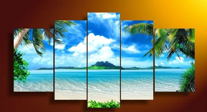 Framed 5 Panel Wall Art Canvas Blue Sky And White Clouds Sea For 5 Panel Wall Art (View 8 of 25)