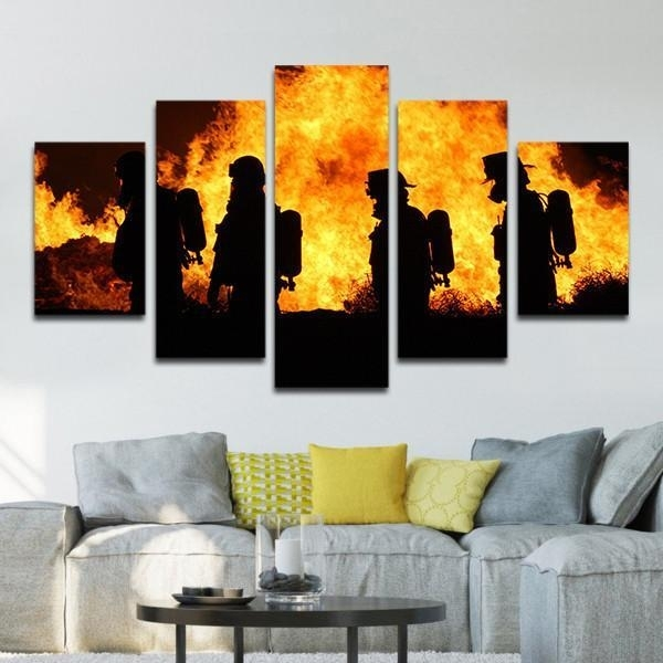 Framed 5 Piece Firefighters In Action Picture Poster Canvas Wall Art In 5 Piece Canvas Wall Art (Image 18 of 25)