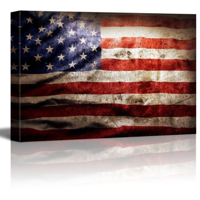 Framed American Flag Vintage Retro Canvas Art Prints Picture Wall Within Vintage American Flag Wall Art (Image 10 of 25)