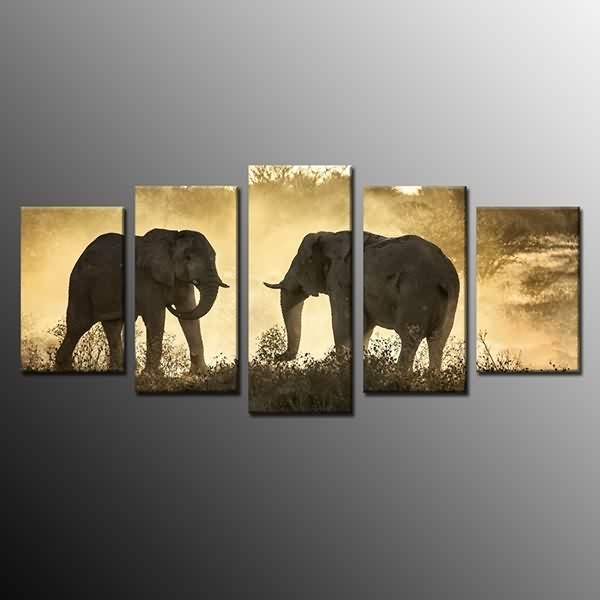 Framed Canvas Painting Print Landscape Elephant Wall Art Picture Regarding Elephant Canvas Wall Art (View 16 of 20)