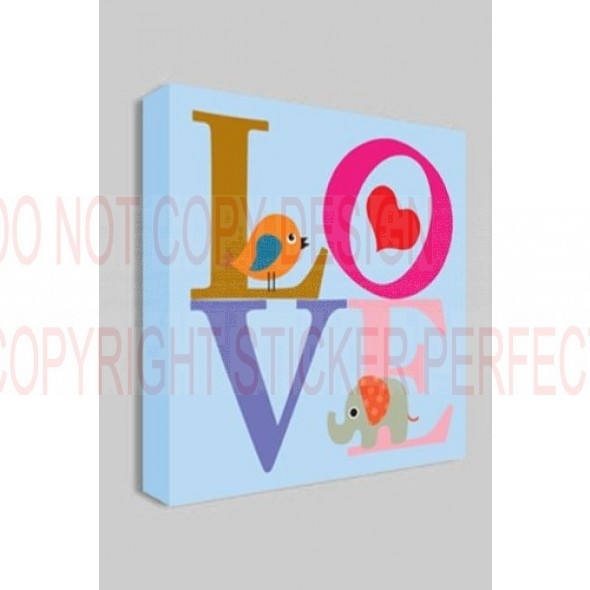 Framed Canvas Print Love With Bird And Elephant Nursery Printed Wall Intended For Bird Framed Canvas Wall Art (Image 14 of 25)