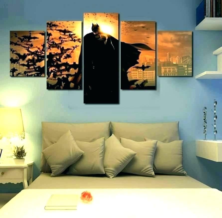 Framed Five Panels Set High End Wall Art Purple Oil Painting Throughout 5 Panel Wall Art (Image 21 of 25)