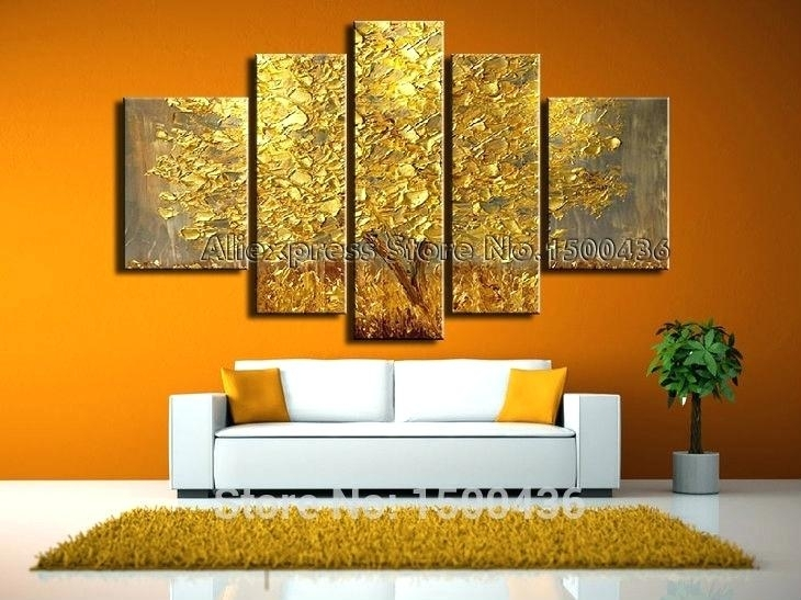 Framed Five Panels Set High End Wall Art Purple Oil Painting Within Five Piece Canvas Wall Art (Image 15 of 20)