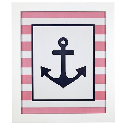 Framed Pink Anchor Wall Art | Carousel Designs Intended For Anchor Wall Art (Image 10 of 25)