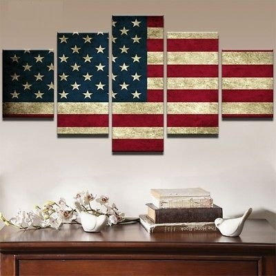 Framed Vintage Retro American Usa Flag Canvas Prints Picture Wall Throughout Vintage American Flag Wall Art (View 8 of 25)
