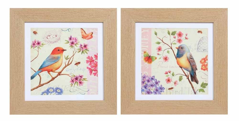 Framed Wall Art – Colourful Birds Set Of 2 For Bird Framed Canvas Wall Art (Image 16 of 25)