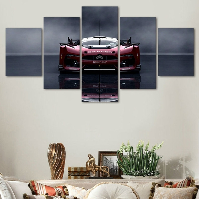 Framed Wall Art Stylish Luxury Red Sports Car Canvas Prints Modern Throughout Car Canvas Wall Art (View 2 of 25)