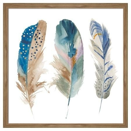 Framed Watercolor Feathers Wall Art In Feather Wall Art (View 11 of 25)