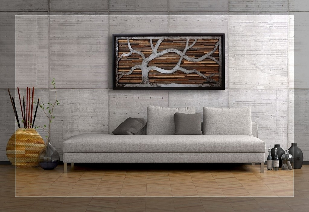 Framed Wood Plank Wall Art : Andrews Living Arts – Create Different For Plank Wall Art (Image 6 of 20)