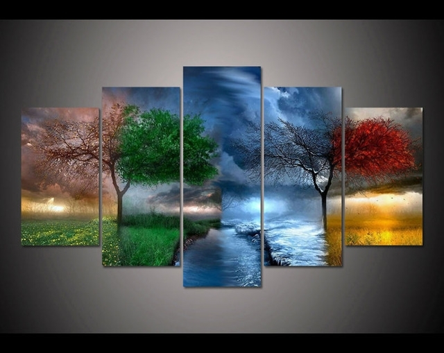 Free Shipping 5 Panel Large Hd Printed Painting Fantasy Nature With Nature Wall Art (Image 10 of 25)
