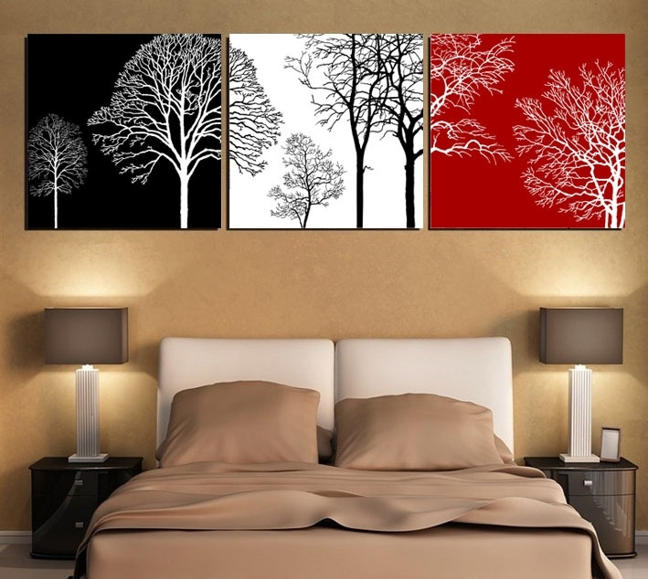 Free Shipping Black White And Red Tree Modern Wall Art Oil Painting With Modern Wall Art (Image 5 of 10)