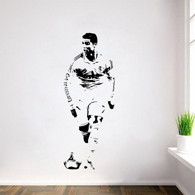 Free Shipping Cristiano Ronaldo Wall Decal Sticker Cr7 Footballer In Soccer Wall Art (Image 6 of 25)