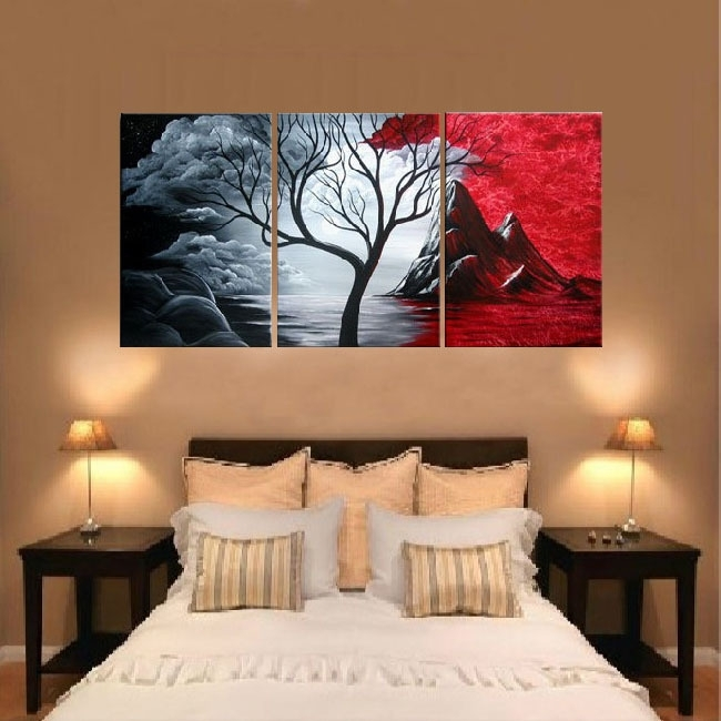 Free Shipping Handpainted 3 Piece Canvas Wall Art Red Black White Pertaining To 3 Piece Canvas Wall Art (Image 12 of 20)