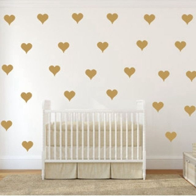 Free Shipping Metallic Gold Wall Stickers Heart Shaped Pattern Vinyl Within Gold Wall Art (View 6 of 10)