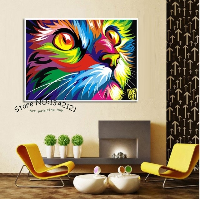 Free Shipping Original Colorful Paint Cat Head Graphic Pictures Art With Cat Canvas Wall Art (View 9 of 25)