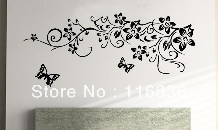 Free Shipping Retail Hot Selling Black Flowers Pattern Fashion Diy Throughout Black Wall Art (Image 13 of 20)