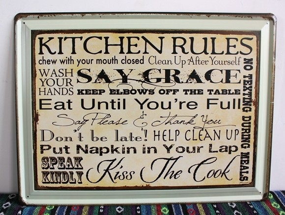 Free Shipping Vintage Tin Wall Signs New Listing Kitchen Rules Tin Throughout Tin Wall Art (Image 2 of 25)
