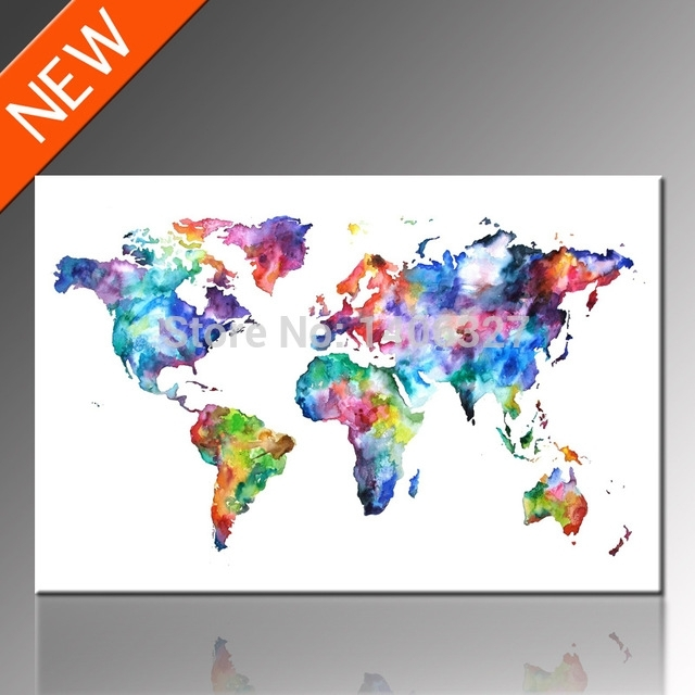 Free Shipping World Map Canvas Wall Art Classical Design, Unframed For Map Of The World Wall Art (View 21 of 25)
