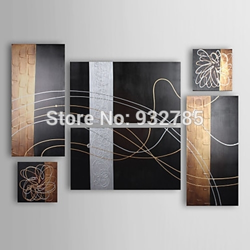 Free Shipping,100% Handmade Oil Paintings Abstract On Canvas 6 Piece Regarding Black And Gold Wall Art (View 2 of 25)