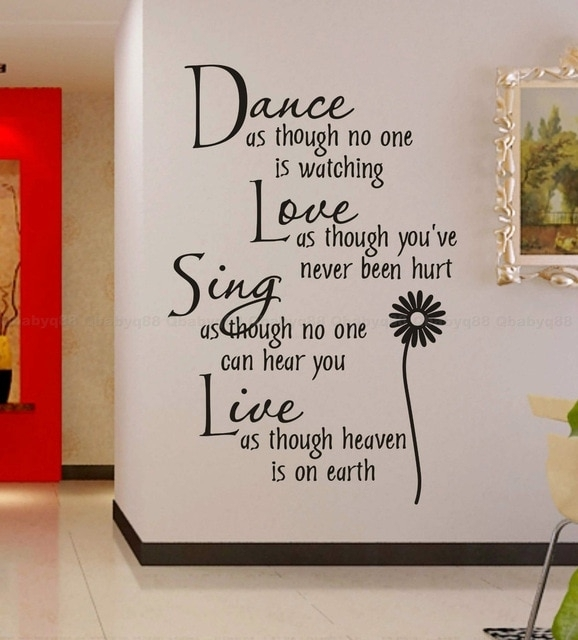 Free Shipping:wholesale=50%discount Off Dance Love Sing Live Wall In Word Art For Walls (Image 8 of 20)