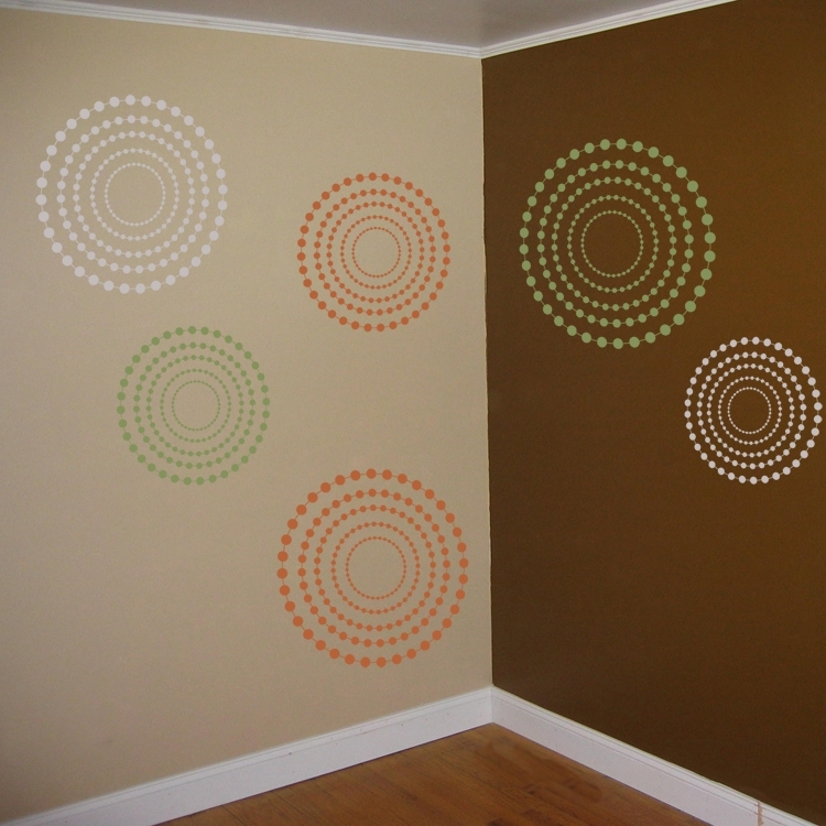 Fun Circles And Dots – 3 Colors – Set Of 9 – Wall Decals For Circle Wall Art (View 13 of 25)